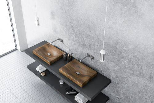 wooden-sink-combined-with-concrete-wall