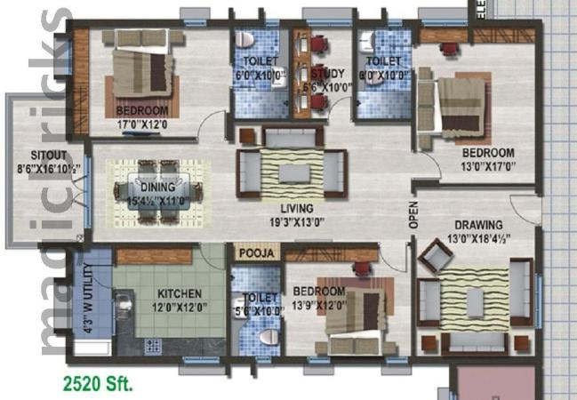 3 bhk multistorey apartment for rent in estella kondapur